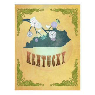 Vintage Kentucky State Map- Passion Fruit Yellow Post Cards