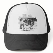 Vintage Kerry Cow Personalized Bull Illustration Trucker Hat