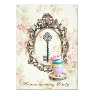 vintage key english floral  Housewarming Party Card