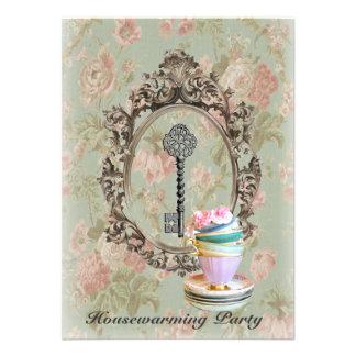 vintage key english floral  Housewarming Party Invites