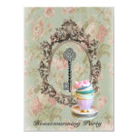 vintage key english floral  Housewarming Party 4.5x6.25 Paper Invitation Card