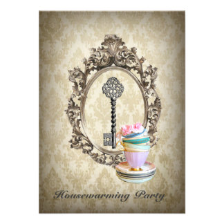 vintage key green damask  Housewarming Party Invites
