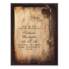 Vintage Key Lock Old Save The Date Postcards at Zazzle