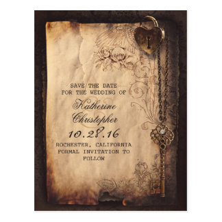 vintage key lock old save the date postcards