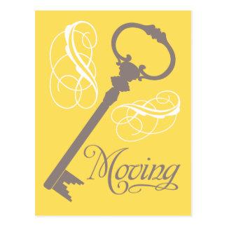 Vintage Key Moving Postcards Yellow
