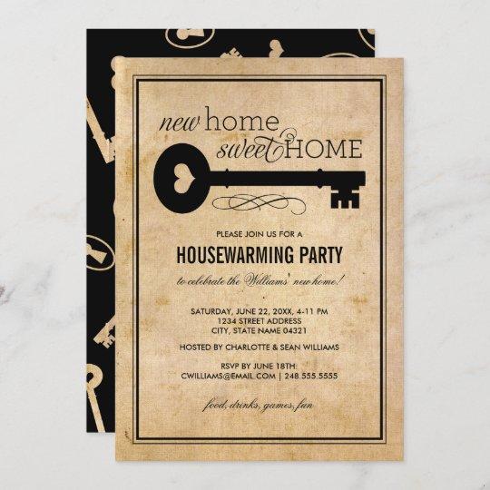 Vintage Key New Home Sweet Home Housewarming Invitation