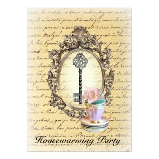 vintage key old fashion  Housewarming Party Personalized Announcement