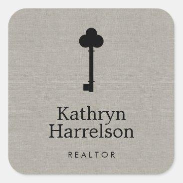 Vintage Key Realtor Real Estate Interior Designer Square Sticker