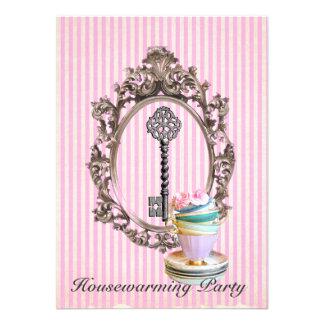 vintage key stripes  Housewarming Party Custom Announcement