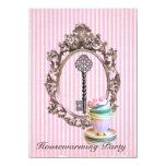vintage key stripes  Housewarming Party 4.5x6.25 Paper Invitation Card