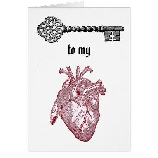 Vintage Key to my Heart Card