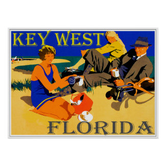 Vintage Key West Beach Scene Poster