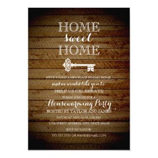Vintage Key Wood Look Housewarming Invite