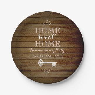 Vintage Key Wood Look Housewarming Paper Plates