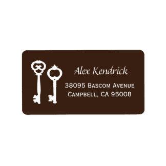 Vintage Keys Labels - Brown