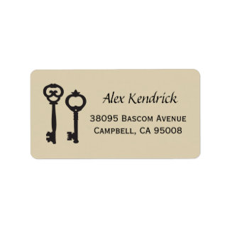 Vintage Keys Labels - Cappucino