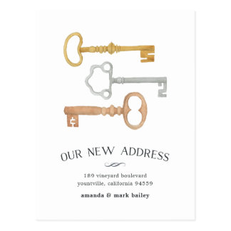 Vintage Keys | Moving Announcement Postcard