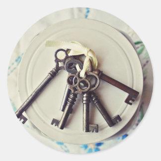 vintage keys classic round sticker