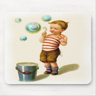 Vintage Kid Blowing Bubbles Mousepad
