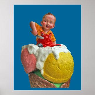 Vintage Kid Cone Ice Cream Parlor Poster Print