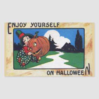 Vintage Kid Lifting Halloween Jack O'Lantern Rectangular Sticker