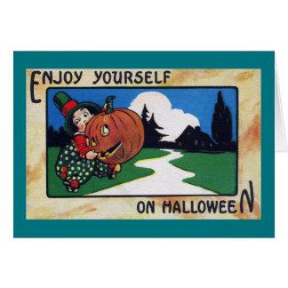 Vintage Kid Lugging Halloween Jack O'Lantern Card