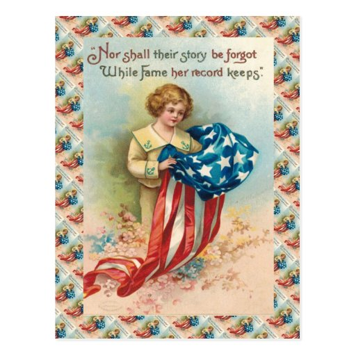 Vintage  Kid with flag, remembrance Postcard