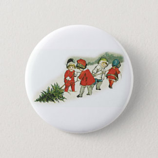 Vintage Kids and Christmas Tree Pinback Button
