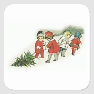 Vintage Kids and Christmas Tree Square Sticker