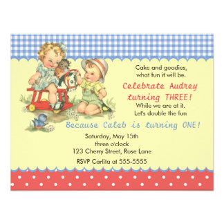 Vintage Kids and Cockhorse Birthday Party Custom Announcements