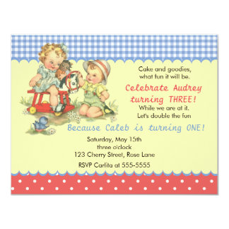 Vintage Kids and Cockhorse Birthday Party 4.25x5.5 Paper Invitation Card