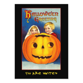 Vintage Kids and Pumpkin Halloween Bloody Text Card