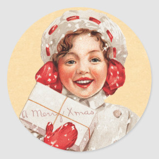 Vintage Kids Christmas sticker