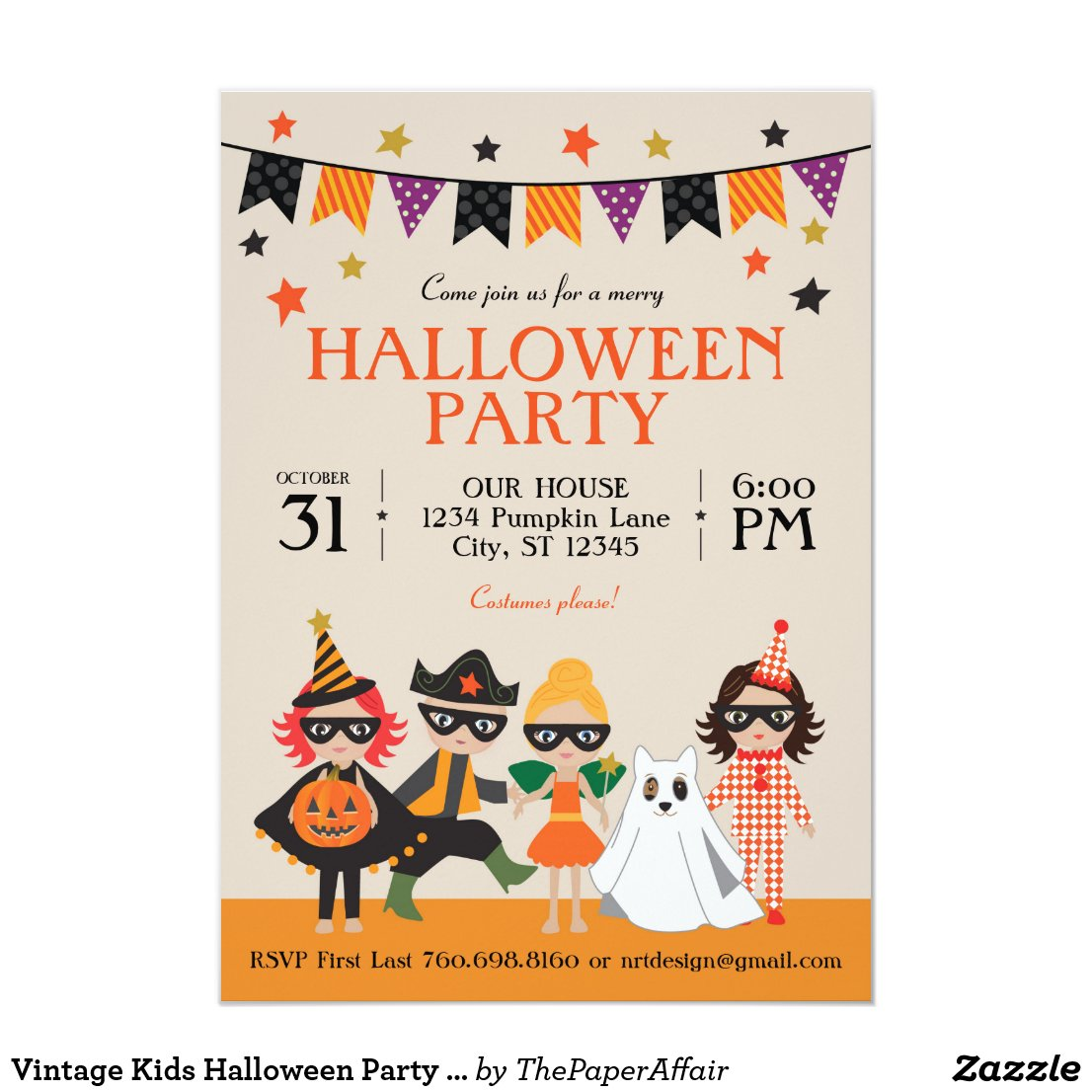 Vintage Kids Halloween Party Invitation