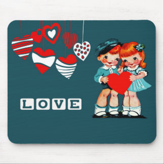 Vintage Kids Valentine's Day Gift Mousepads
