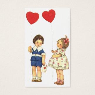 Vintage Kids Valentine's Day Valentine Business Card