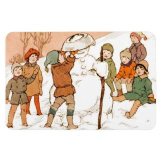 Vintage Kids With Snow Man. Magnet
