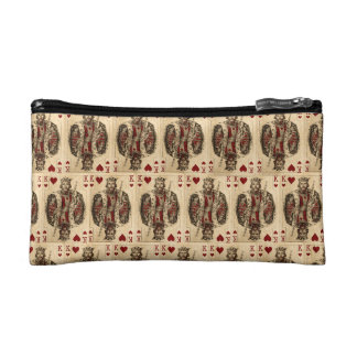 Vintage King Hearts PLaying Cards Collage Makeup Bag