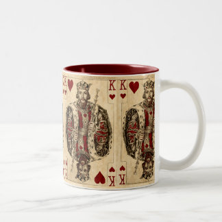 Vintage King Hearts PLaying Cards Collage Two-Tone Coffee Mug