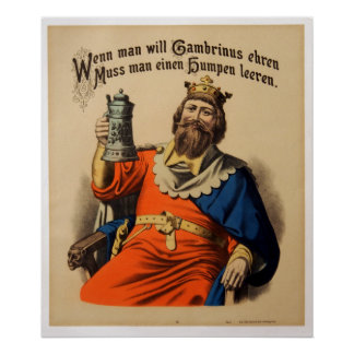 Vintage King on Throne with Stein Beer Poster
