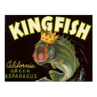 Vintage Kingfish California Green Asparagus Label Postcard