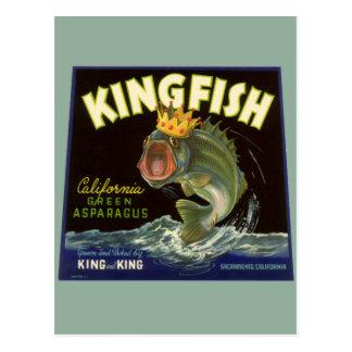 Vintage Kingfish California Green Asparagus Label Postcards