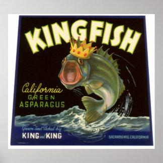Vintage Kingfish California Green Asparagus Label Print