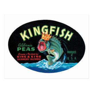 Vintage Kingfish Peas Crate Label Post Card