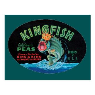 Vintage Kingfish Peas Label Postcard