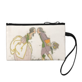 Vintage Kiss Colonial Lovers Cute Couple Bagettes Coin Wallet
