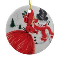 Vintage Kissing A Snowman Ceramic Ornament