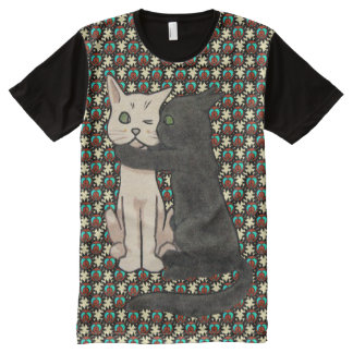 Vintage Kissing Cats Peace Flower Pattern All-Over Print T-shirt