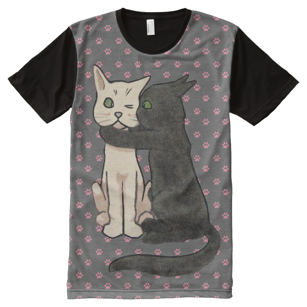 Vintage Kissing Cats Pink Paw Print Pattern All-Over-Print Shirt