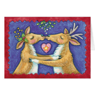 Vintage Kissing Reindeer Christmas Card